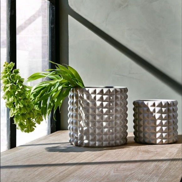 Anthropologie planter in light gray ceramic
